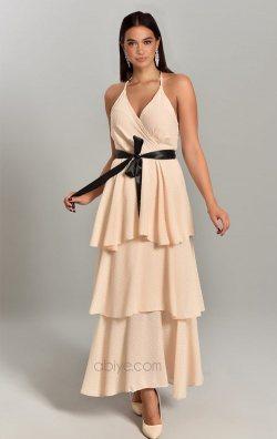 Vizon Eteği Kat Kat Askılı Uzun Abiye Elbise