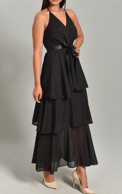 Siyah Eteği Kat Kat Askılı Uzun Abiye Elbise