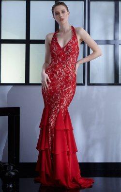 Kırmızı Dantel Uzun Balık Abiye Elbise