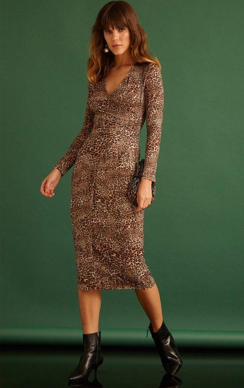 Leopar Desenli Uzun Kollu Midi Abiye Elbise