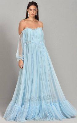 Bebe Mavi Şifon Uzun Abiye Elbise
