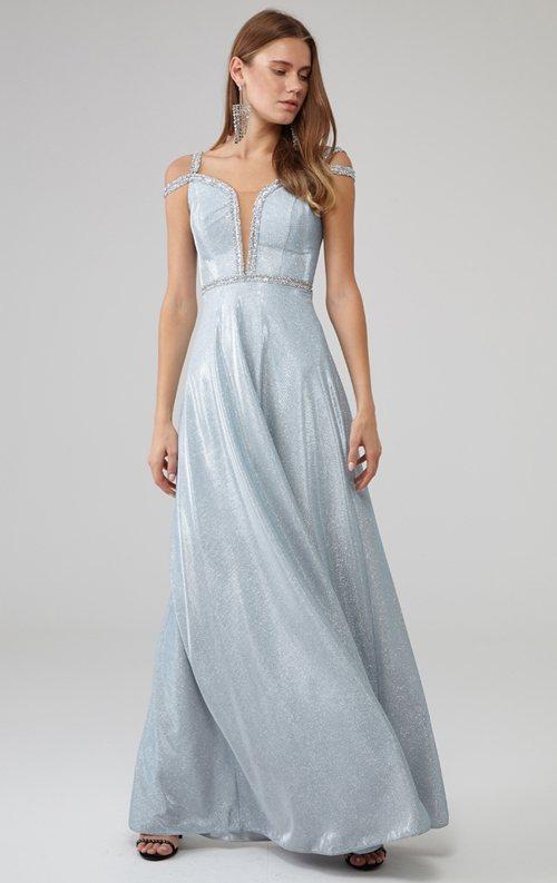 Mavi Omuz Detaylı Parıltılı Kolsuz Uzun Abiye Elbise