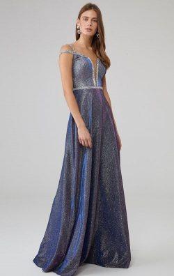 Saks Omuz Detaylı Parıltılı Kolsuz Uzun Abiye Elbise