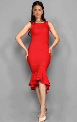 Kırmızı Eteği Çift Kat Volanlı Midi Abiye Elbise