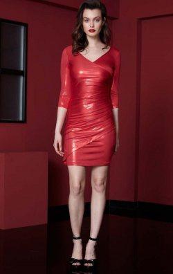 Kırmızı Uzun Kol Parlak Kısa Abiye Elbise
