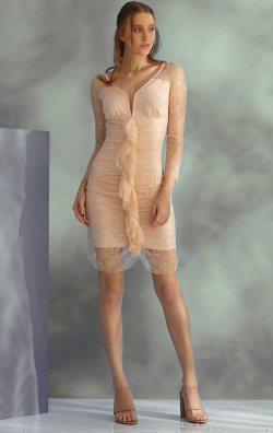Pudra Dantel Uzun Kol Kısa Abiye Elbise