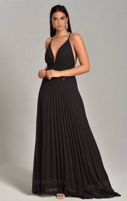 Siyah Çapraz Askılı Şifon Abiye Elbise