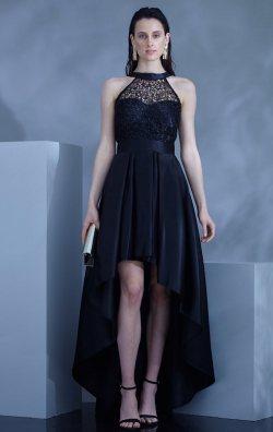 Siyah Saten Asimetrik Kolsuz Uzun Abiye Elbise