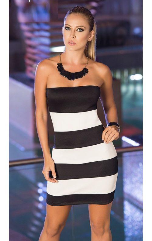 Siyah Beyaz Straplez Mini Elbise