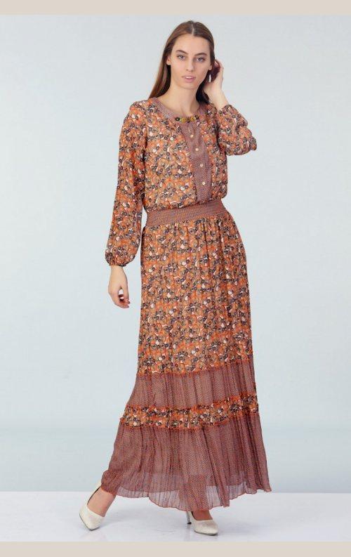 Şık Batik Desenli Elbise - Turuncu