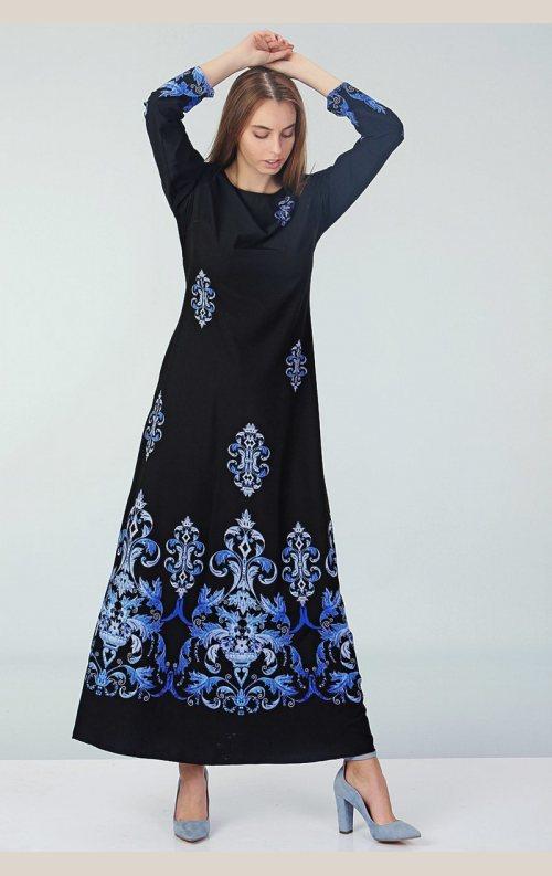 Şık Etnik Desenli Elbise - Siyah