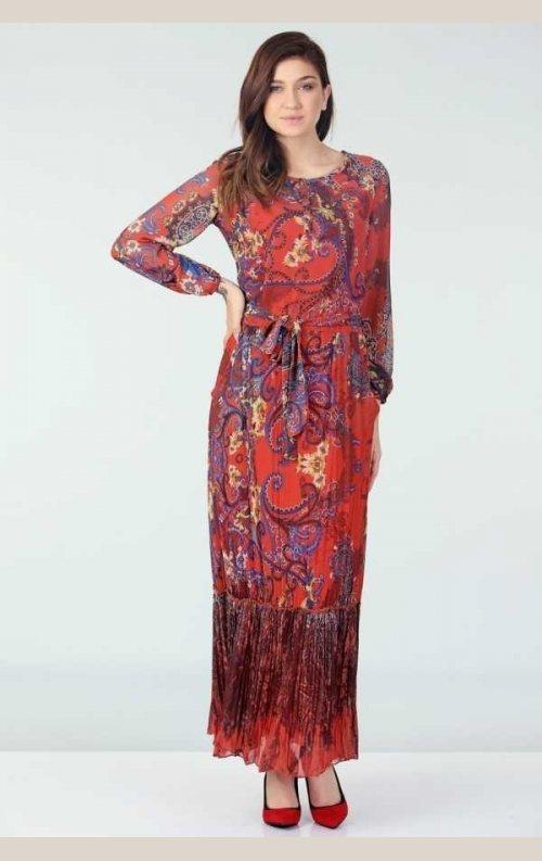 Şık Desenli Şifon Elbise - Mercan