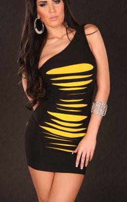 Tek Omuz Yırtık Model Elbise