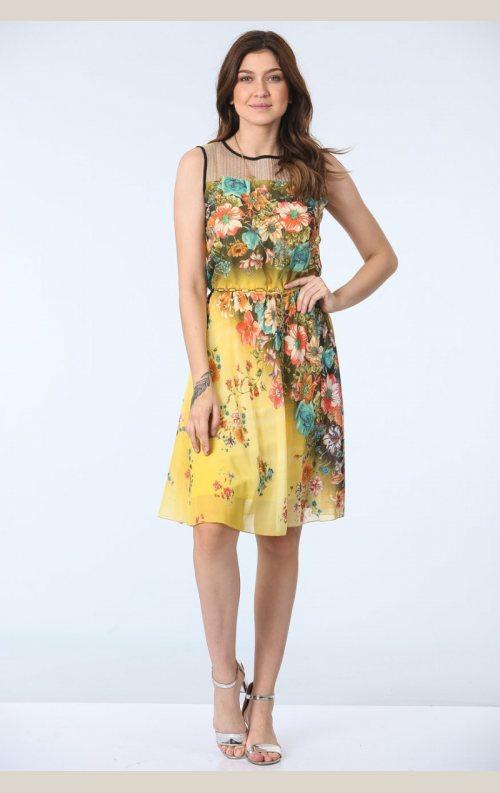 Şık Belden Büzgülü Empirme Desen Elbise - Sarı
