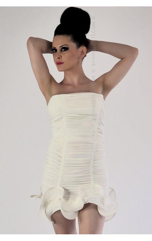 Beyaz Mini Club Elbise