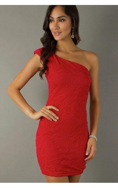 Tek Omuz Kırmızı Mini Elbise