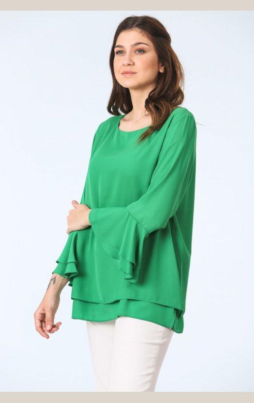 Şık Kolları Volanlı Bluz - Yeşil