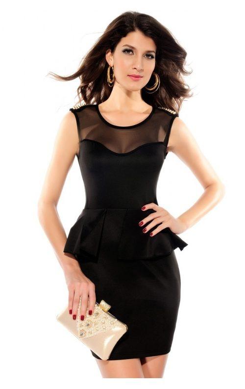 Siyah Volanlı Şık Mini Elbise