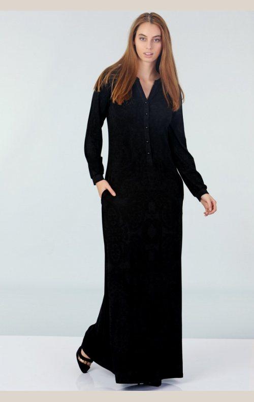 Şık Düğmeli Elbise - Siyah
