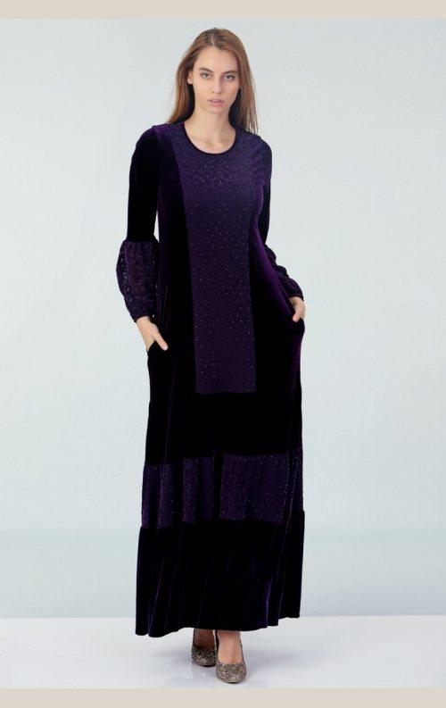 Şık Taşlı Uzun Kadife Elbise - Mor