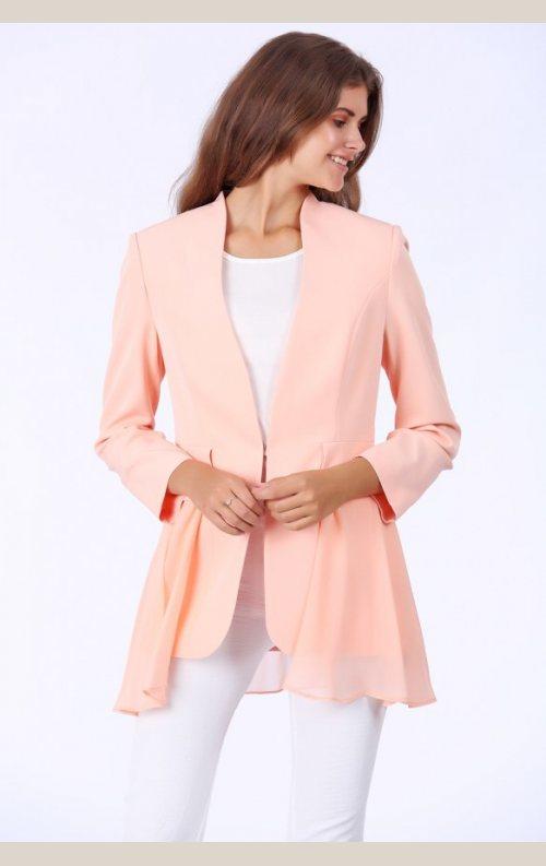 Şık Tül Detaylı Ceket - Somon