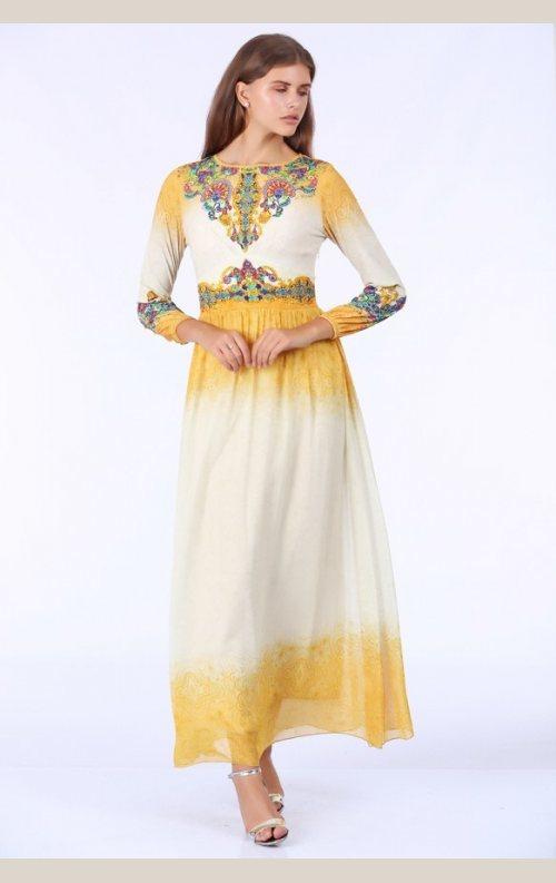 Şık Taşlı Uzun Elbise - Sarı