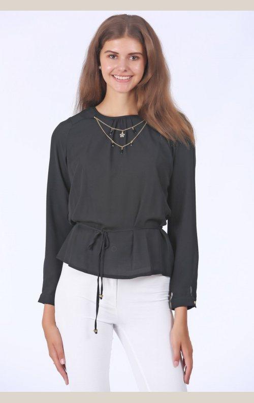 Şık Zincir Detaylı Bluz - Siyah