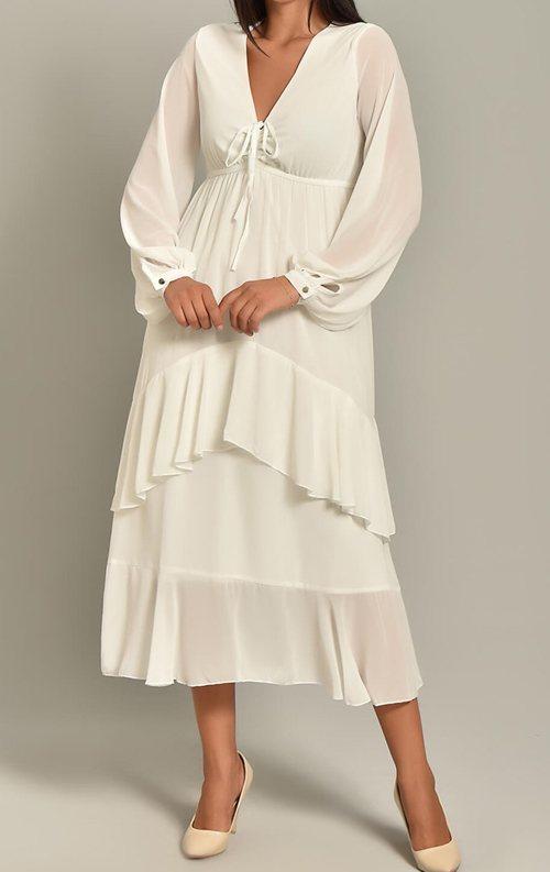 Beyaz Şifon Katkat Etekli Midi Elbise