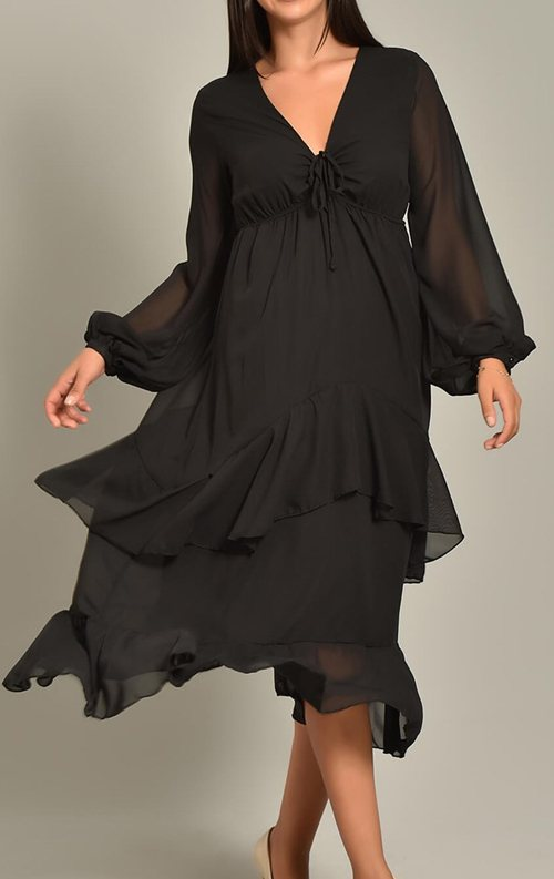Siyah Şifon Katkat Etekli Midi Elbise