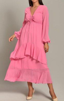 Pembe Şifon Katkat Etekli Midi Elbise