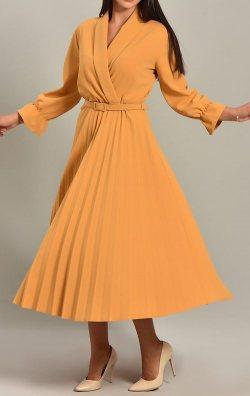 Sarı Piliseli Kemerli Midi Abiye Elbise