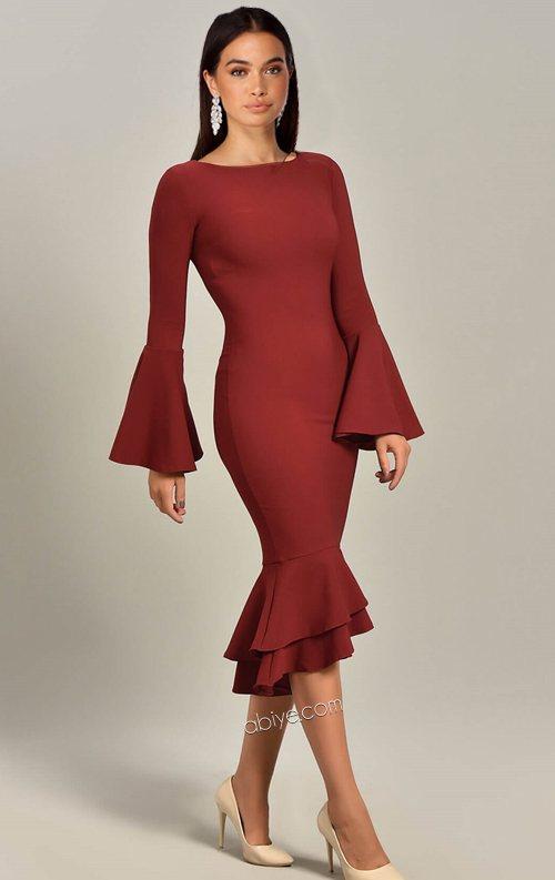 Bordo Volan Detaylı Midi Abiye Elbise