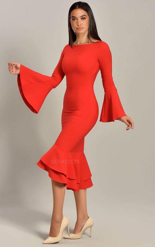 Kırmızı Volan Detaylı Midi Abiye Elbise