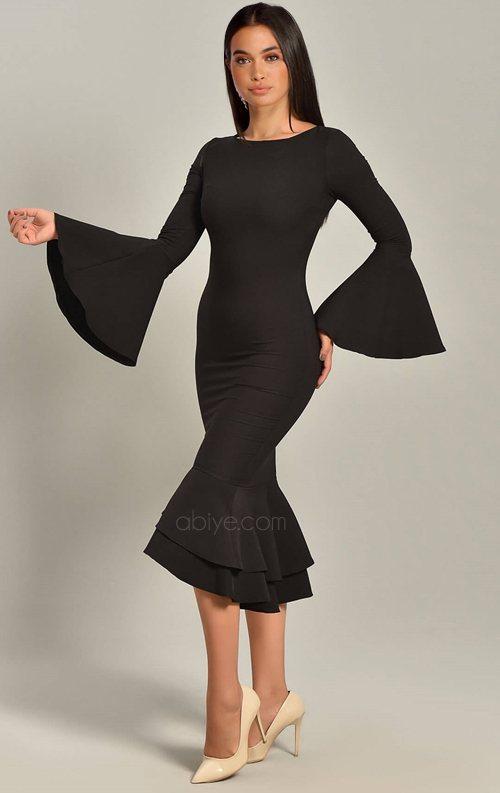 Siyah Volan Detaylı Midi Abiye Elbise