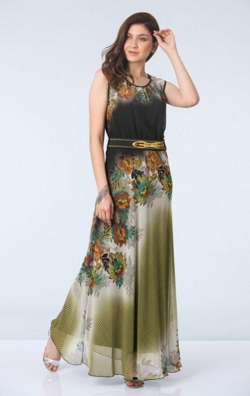 Safran Kemerli Empirme Uzun Şifon Abiye Elbise