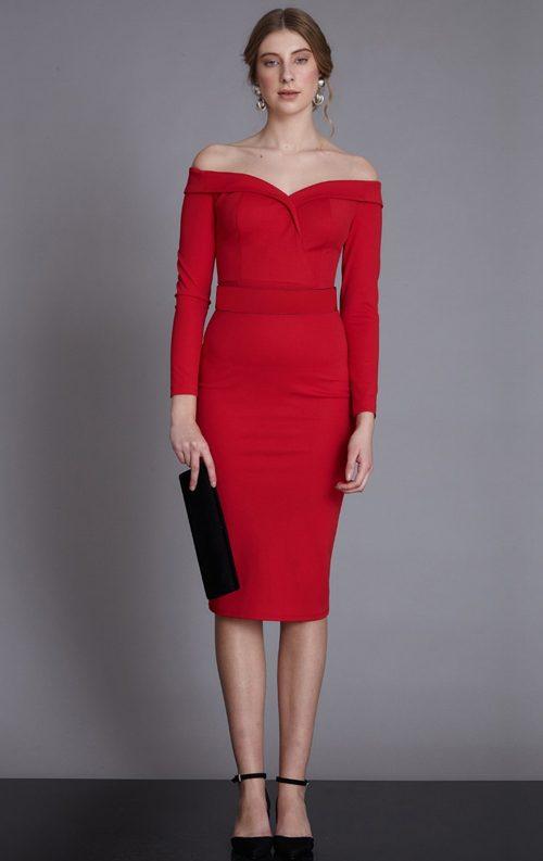 Kırmızı Kruvaze Yaka Uzun Kollu Midi Abiye Elbise