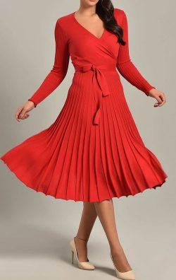 Kırmızı Pileli Triko Midi Elbise