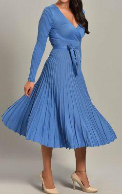 Mavi Pileli Triko Midi Elbise