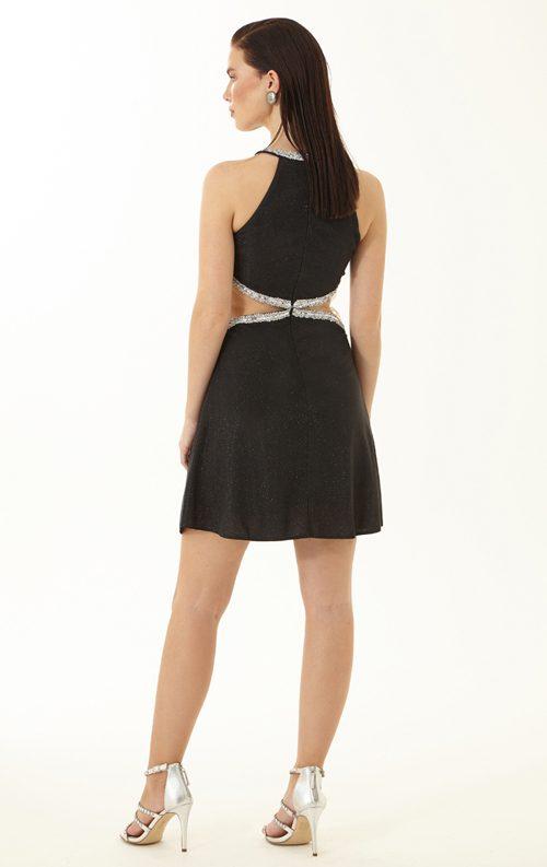 Siyah Payetli Şerit Detay Kısa Abiye Elbise