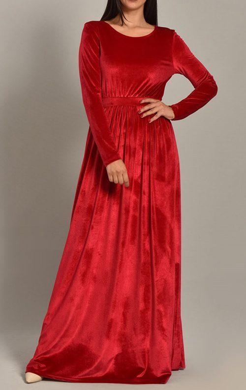 Bordo Kadife Tasarım Uzun Abiye Elbise