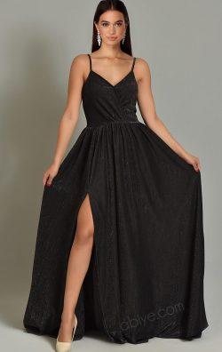 Siyah İp Askılı Simli ve Yırtmaçlı Uzun Abiye Elbise