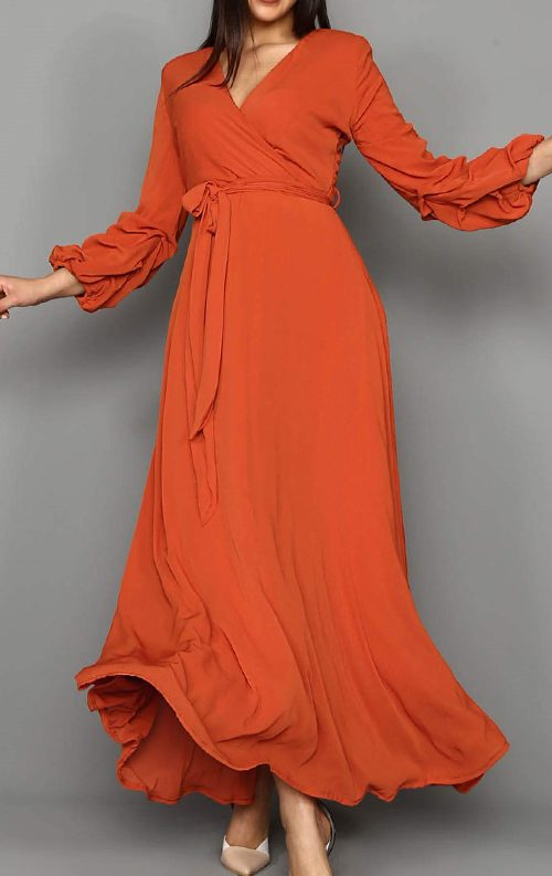 Kiremit Kolları Büzgülü Uzun Şifon Abiye Elbise