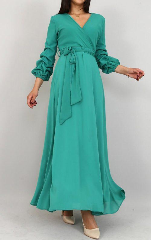 Yeşil Kolları Büzgülü Uzun Şifon Abiye Elbise