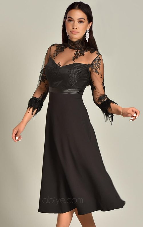 Siyah Kolları Güpür Dantel Midi Abiye Elbise