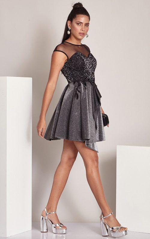 Siyah Tül Detay Asimetrik Kısa Abiye Elbise