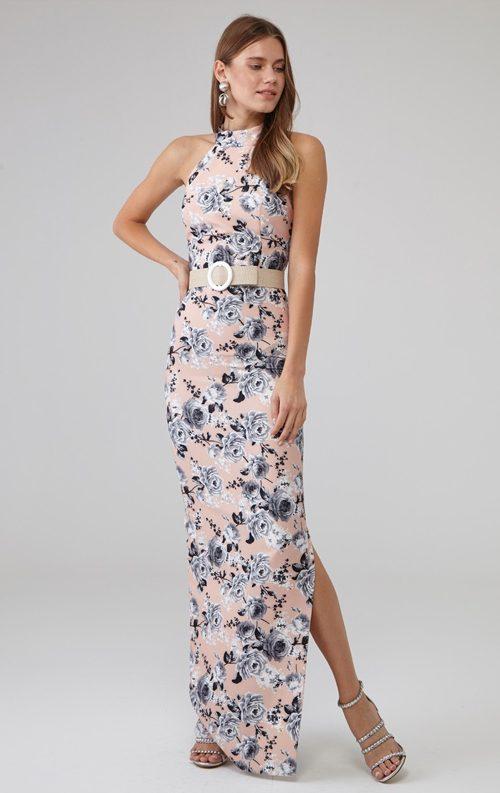 Kemerli Çiçek Desen Uzun Abiye Elbise
