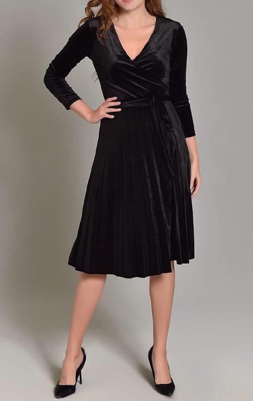 Siyah Kadife Eteği Piliseli Midi Elbise