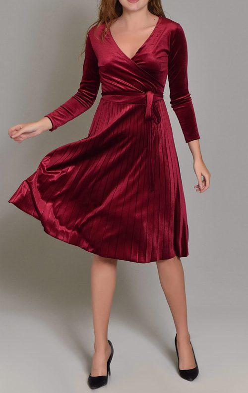 Bordo Kadife Eteği Piliseli Midi Elbise