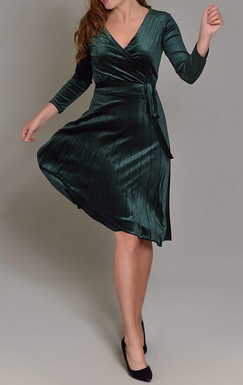 Yeşil Kadife Eteği Piliseli Midi Elbise