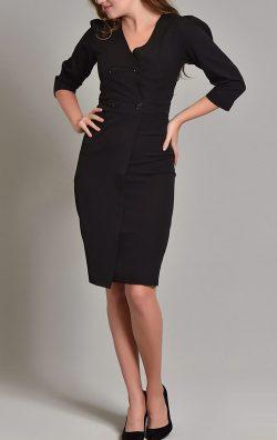 Siyah Fakir Kol Kruvaze Yaka Midi Elbise